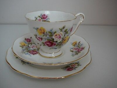 """Queen Anne Trio """"Country Gardens"""" Vintage Cup Saucer Plate Made in England"""