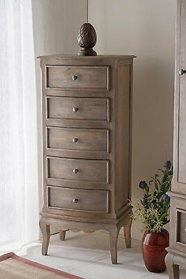 Bourdeilles Solid Shabby Chic 5 Drawer Bedroom Chest Tallboy in Mango Free Del!