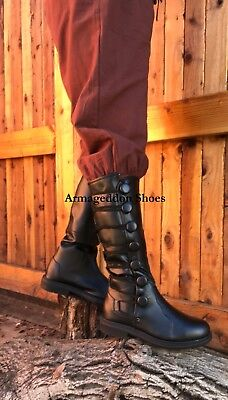 Black Medieval Knight Renaissance Faire Game of Thrones Mens Boots size 8 9 10