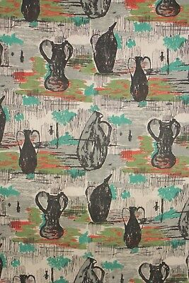Vintage mid century modern design fabric material 1950's French upholstery