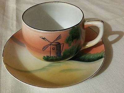 Made In Japan Hand Decorated Cup And Saucer Japan   Sunset/windmill