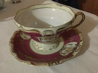 Fleurette China Cup And Saucer Japan