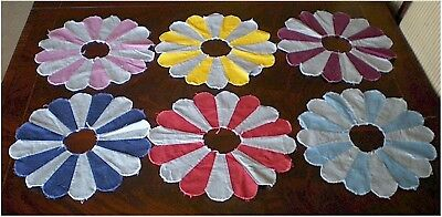"""Collection of 6 Vintage  Cotton Quilt Blocks Dresden Plate 13"""""""