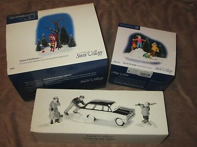 Christmas Time DEPT 56  FIREMAN TO RESCUE & FUN IN THE SNOW & STUCK IN THE SNOW