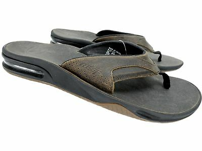 80cdb5959eb6 Reef Men s Fanning Ultimate Leather Sandals Dark Brown Flip-Flops Size 11 M