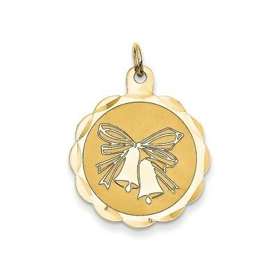 14k Yellow Gold Polished Engrave-Able Wedding Bells Charm