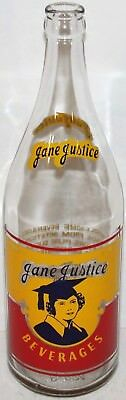 Vintage soda pop bottle JANE JUSTICE 3 color woman 1949 Terre Haute Indiana Rare