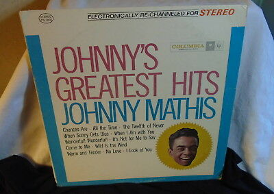 Johnny's Greatest Hits Johnny Mathis Lp Record Album 1962 Columbia Stereo .