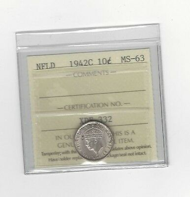 **1942c**, ICCS Graded Newfoundland,  Silver 10 Cent, **MS-63**