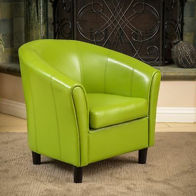 Napoli Lime Green Bonded Leather Club Chair By Christopher Knight Home