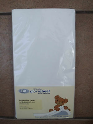 Baby Fitted Sheet White Cotton Fits Large Silver Cross Pram/Swinging Crib NEW