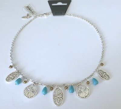 NEW PILGRIM Denmark  Necklace /Choker Silver Filigree Charms with Blue Beads