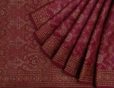 Indian Vintage Ethnic Saree Woven Purple Pure Silk Indian Sari Craft Fabric 5Yd.