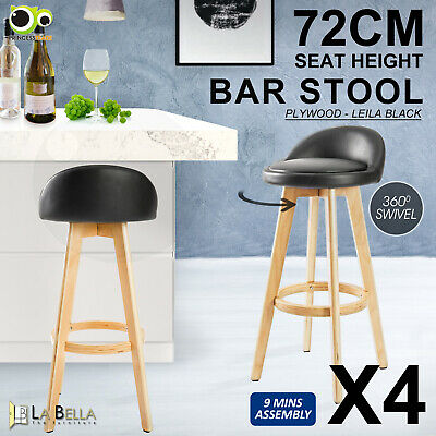 4 x Oak Wood Bar Stool Wooden Barstool Dining Chair Kitchen Leather LEILA BLACK