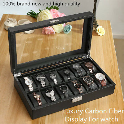 12 Grids Carbon Fiber Watch Gift Box Storage Case Jewelry Display TK
