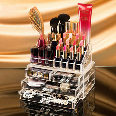 Clear Acrylic Makeup Holder Cosmetic Organizer 4 Drawer Storage Jewellery Box AB