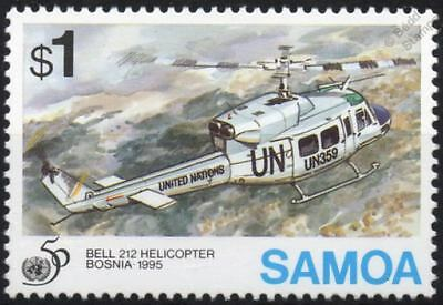 United Nations (UN) BELL 212 Twin Huey Helicopter Aircraft Stamp (1995 Samoa)