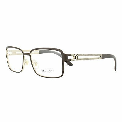 c746cecb00b VERSACE GLASSES FRAMES 1236 1378 Matte Brown and Pale Gold 55mm Mens ...