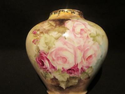 Beautiful Hand Painted Urn Style Vase Likely Victorian Rose Design Stunning!