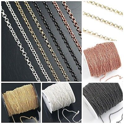 2mm Rolo chain Rose Gold Silver gunmetal Brass Plated Sold by FT necklace FREE S