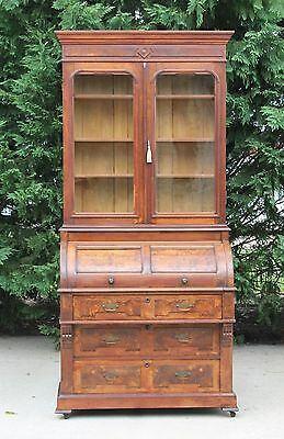 Signed Victorian Walnut & Burl Cylinder Roll Secretary Desk wBookcase Top & key