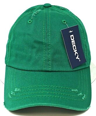 1b5807475da59 Distressed Unconstructed Cap DECKY Dad Hat Curved Visor Adjustable Green NWT