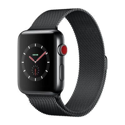Apple Watch Series 3 GPS Cellular Stainless Steel 42mm Case Milanese Loop Black