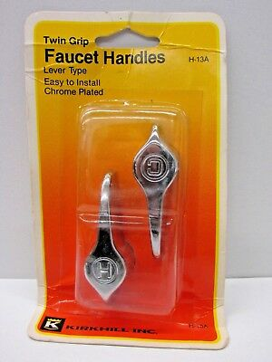 Kirkhill Inc. Chrome Plated Metal Twin Grip Faucet Handles Hot / Cold  #H-13A