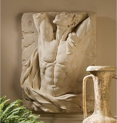 "Ancient Replica Greek God 27""H Adonis Wall Sculpture Muscular Torso Frieze"