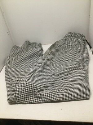 Chef Revival Houndstooth Pants Medium Black White Drawstring Elastic Waist