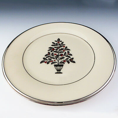 """Lenox China Solitaire Platinum Xmas Salad Accent Plate 8 1/8"""" Holiday Dining"""
