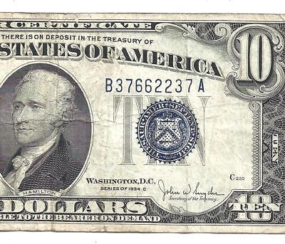 1934C $10 BLUE Seal SILVER Certificate! F/VF! Old US Paper Money!