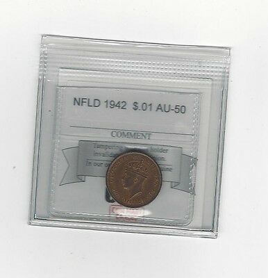 **1942**, Coin Mart Graded, Newfoundland  Small One Cent, **AU-50**