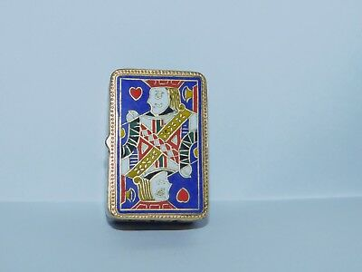 Ornate Cloisonne King Of Hearts Playing Card Cards Trinket Box