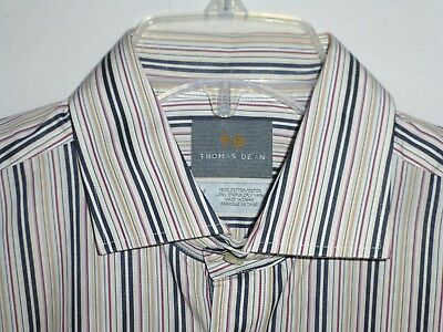 Nwot$180 Thomas Dean 16x35 Med Navy/Tan/Red Striped Shirt ITALY 39-41 Nordstrom
