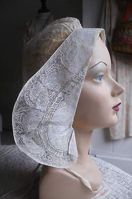 Museum quality early antique Belgian lace cap or bonnet