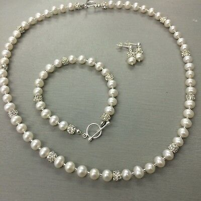 Designer Freshwater Pearl Wedding Jewelry Set Sterling Silver Handmade Diamante