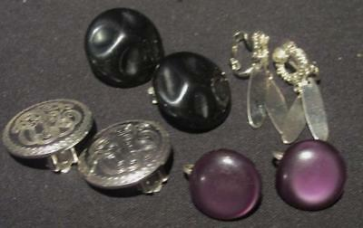Black Button, Purple Button, Silver Circle & Silver Dangle 4Pr Earrings Unsighed
