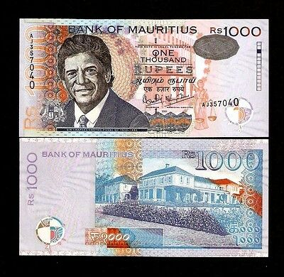 Mauritius 1000 Rupees 54 2001 Date Duval Unc Rare Currency Money Bill Bank Note