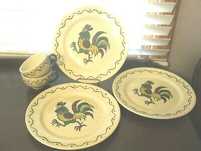 Metlox Poppy Trail Pottery Rooster Dinner Plates & Cups California 5 PC LOT EUC