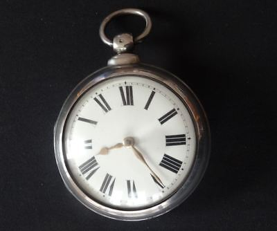 SUPERB ENGLISH SILVER VERGE FUSEE POCKET WATCH, ADCOCK, EAST DEREHAM, c1863