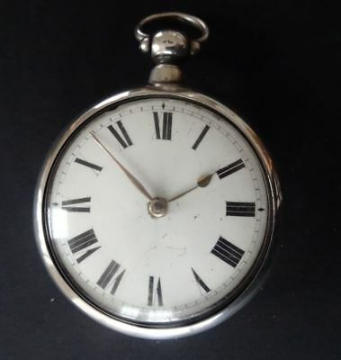 ANTIQUE ENGLISH SILVER VERGE FUSEE POCKET WATCH, THOMAS MASTERS LONDON c1830