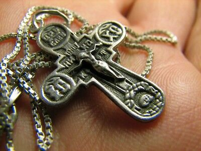 CRUCIFIXION SAVE & PROTECT PRAYER OLD VINTAGE STERLING SILVER CROSS w CHAIN #429