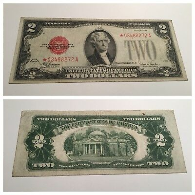 VINTAGE star $2 1928-F UNITED STATES NOTE RED SEAL JEFFERSON TWO DOLLAR BILL USN
