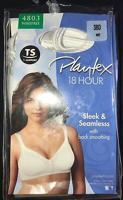 985be87a8b women s NEW NIP PLAYTEX 18 HOUR BRA size 38D 38 D SLEEK   SEAMLESS white  WIRE