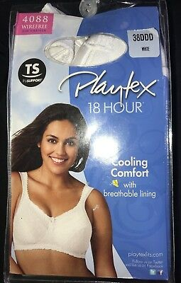 16b98c78c9 women s NEW NIP PLAYTEX 18 HOUR white BRA size 38DDD 38 DDD BREATHABLE  LINING