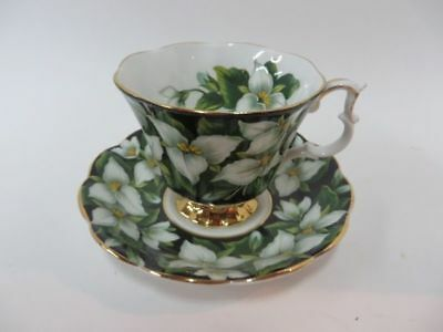 Royal Albert Flora Series Trillium Teacup and Saucer Black with White Flowers