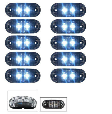 10 X Clear White 2 Led Side Front Marker Lamp Lights Truck Lorry E-Mark Dot Au