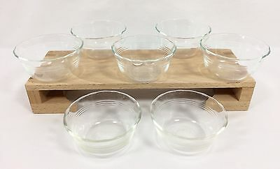 7 Vtg Pyrex Glass #463 Custard Ramekin Prep Bowl 175 mL / 6 oz Scalloped 3 Ring