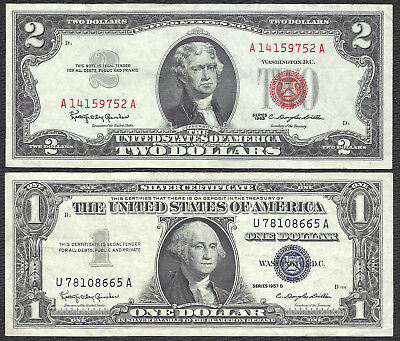 1963 $2 RED! 1957B $1 SILVER! 2 Notes! CRISP VF! Old US Paper Money!